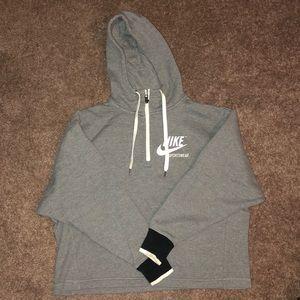 Women's Gray Nike Crop half-zip sweatshirt